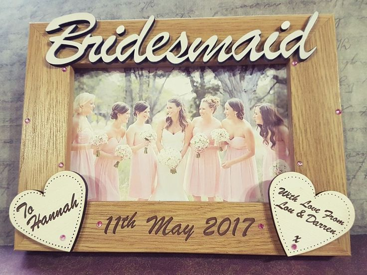 Hand Made engraved wooden photo frame. If no alternative colours are requested they will be done exactly like the examples on the main photo with pale pink gems. Maid Of Honour - Louise. IF YOU LEAVE THE DATE IN NUMBER FORMAT ON YOUR NOTE IT WILL BE ENGRAVED IN NUMBER FORMAT. | eBay!