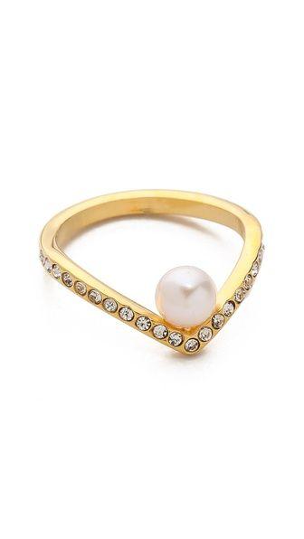 ultra mini v pearl & crystal ring / vita fede