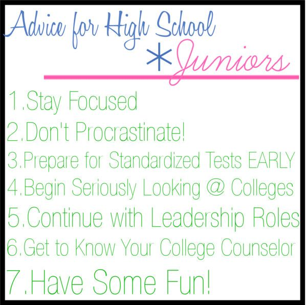 advice for high school freshman I never really knew exactly how i felt about starting high school while i was  excited to make new friends and learn new things, i was also very.