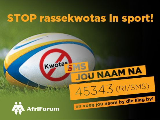 AfriForum's campaign against quotas in national sportsteams