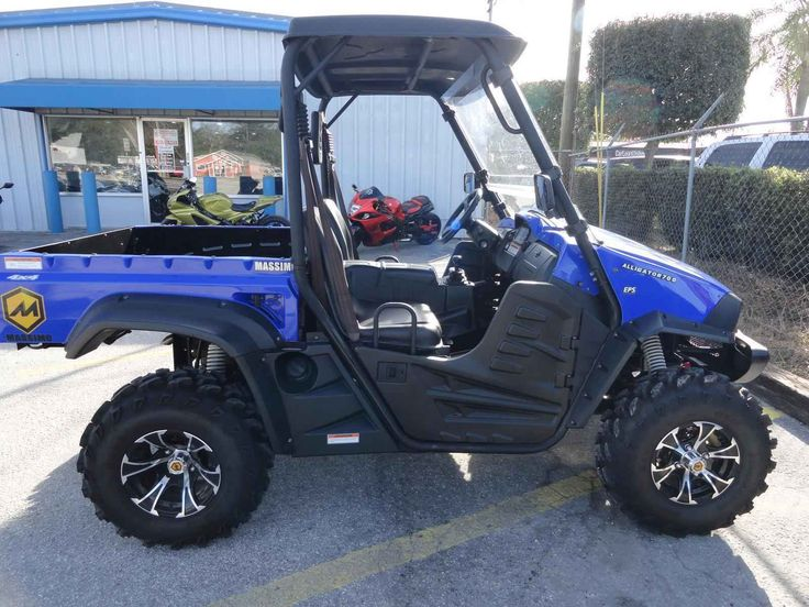 Used 2014 Massimo Motor Alligator 700 4 X 4, Power Steering ATVs For Sale in Florida. 2014 Massimo Motor Alligator 700 4 X 4, Power Steering, 2014 Massimo Alligator 700 4 X 4 switchable to 2 X 4, 23 Hours, Factory 3500 lb. winch, power steering, windshield, top, bucket seats, dump bed, gate opens for loading, differential lock, reverse, low gear, turn signals, horn, . like new, Must See, Excellent Condition. 75 motorcycles to choose from. Special motorcycle financing is available even with a…