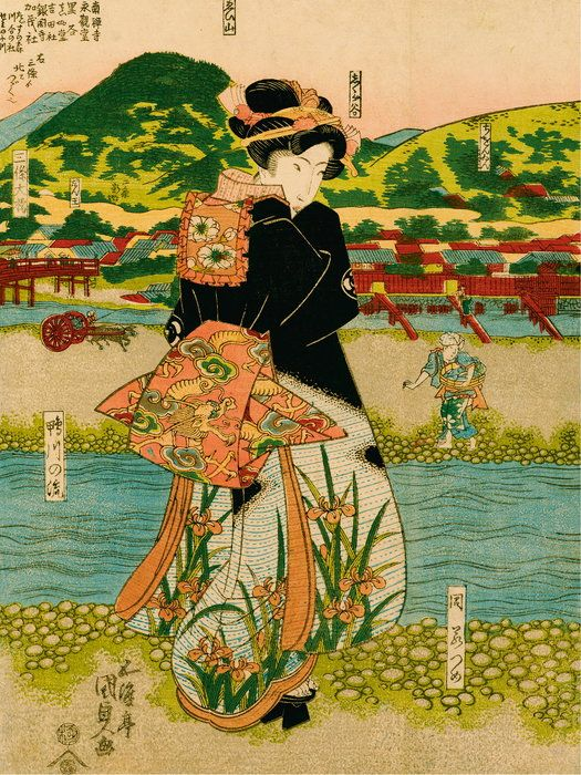 Kurtyzana spacerująca brzegiem rzeki Shijogawara w Kioto, lata 1820-1825. Fot. Fundacja Jerzego Leskowicza/Muzeum Narodowe w Warszawie