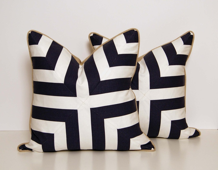 Deep Blue and White Patchwork Pillow by CCDeuxVie on Etsy - william's room