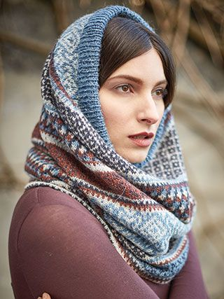 BALFOUR SNOOD from Rowan Knitting and Crochet Magazine No. 60 (ZM60).  Featuring 2 Stories Tempest & Felted Tweed | English Yarns
