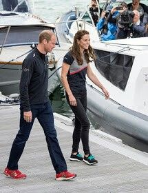 atherine, Duchess of Cambridge and Prince William, Duke of Cambridge leave the Ben Ainslie Racing team base to go and watch the racing on The Solent on July 24, 2016 in Portsmouth, England.