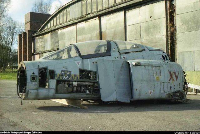 The cockpit of Phantom F-4J(UK) ZE352 survives at Hooton Park, UK. It was once a US Navy 'Evaluators' aircraft numbered 153783, nicknamed Black Bunny.