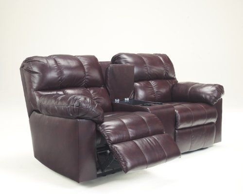 Kennard Burgundy Leather Match Upholstery Double Reclining Loveseat With Console