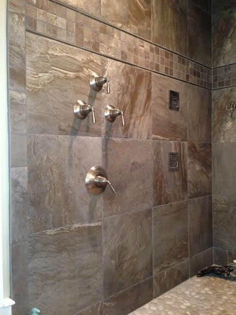 Porcelain shower wall tile Island stone pebble shower