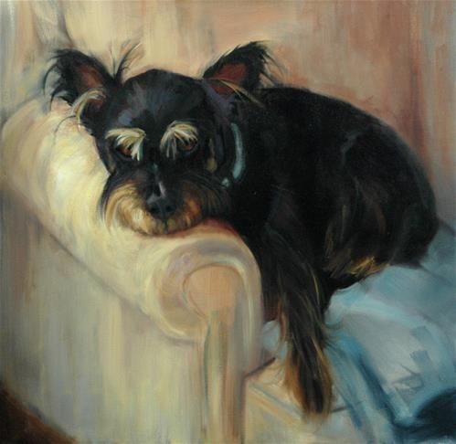 "Daily Paintworks - ""Schnauzer Pup"" - Original Fine Art for Sale - © Robin Wellner"