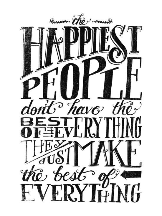The happiest people by matthew taylor wilson inspirational quote word art print motivational poster black white