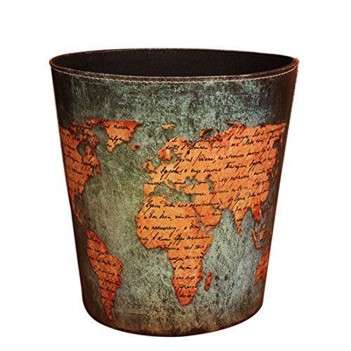 Wastebasket Yamix Retro European Style Household Home Office Round Pu Leather Waste Bin Paper Basket
