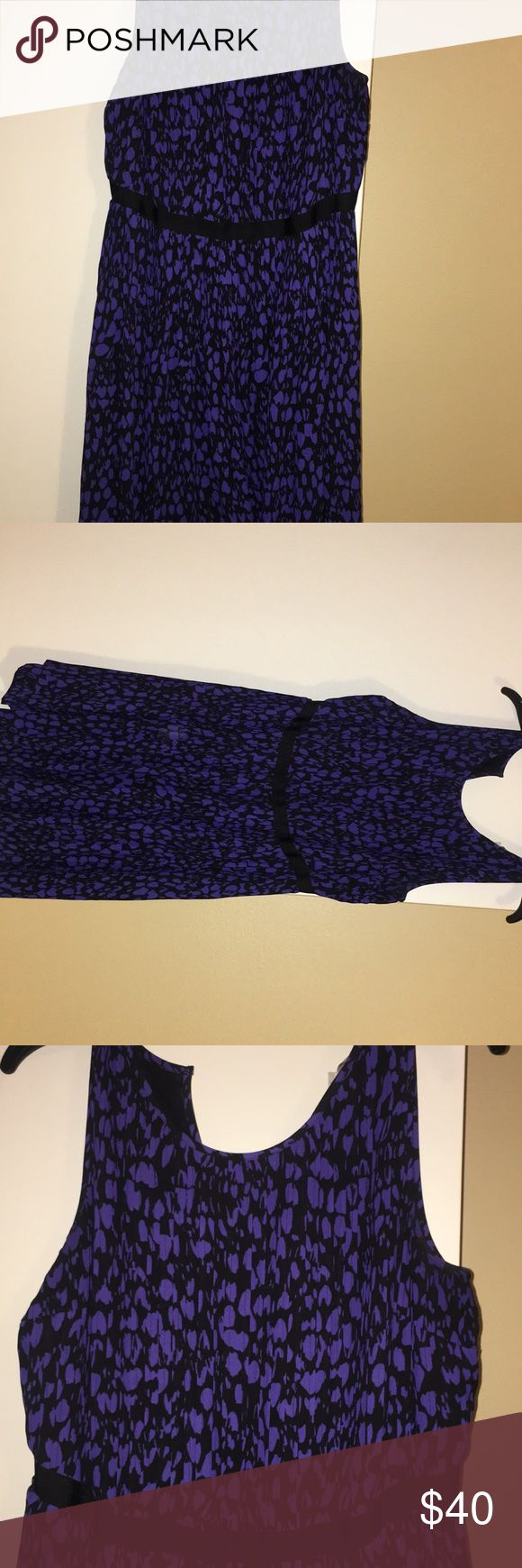 Purple/Black Loft Dress Super cute empire waist dress! Only worn a couple of times, in such great condition.  Perfect to wear in the office then switch over to date night! LOFT Dresses Midi