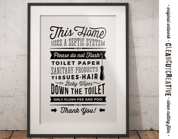 Bathroom Sign Septic System Do Not Flush By