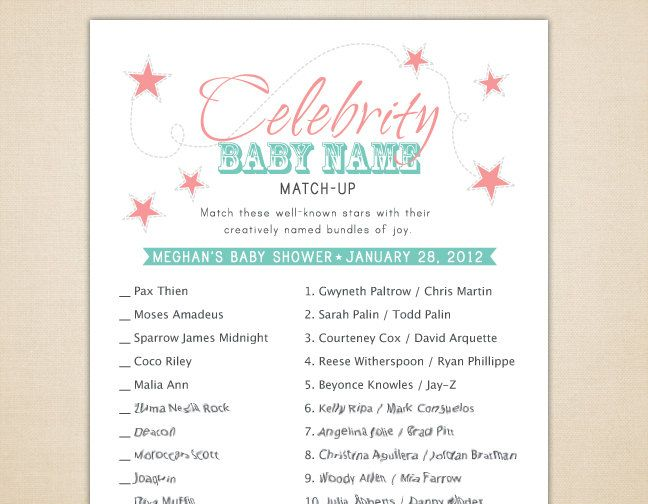 celebrity baby name matching game for baby showers printable and