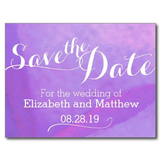 Watercolor wash painted purple save the date card. Art and design by www.mylittleedenweddings.com