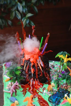 The Amazing Erupting Volcano Cake Recipe If you've got a child with a birthday or a grownup friend with a wonderfully wacky streak, this is the ultimate party cake! Constructing this monster takes some time and planning, but the results are spectacular. Don't get too hung up on perfection–lumps and crumbles just make the volcano that much more lifelike.