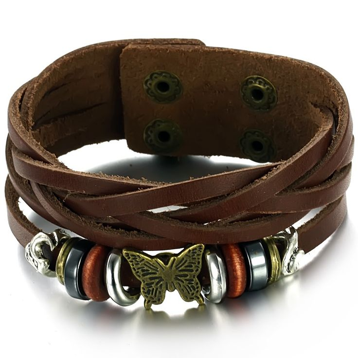 Rock Cool Style Genuine Leather Cuff Bracelet For Men Multilayer Adjustable Size Bangles Punk Leather Jewelry Boys