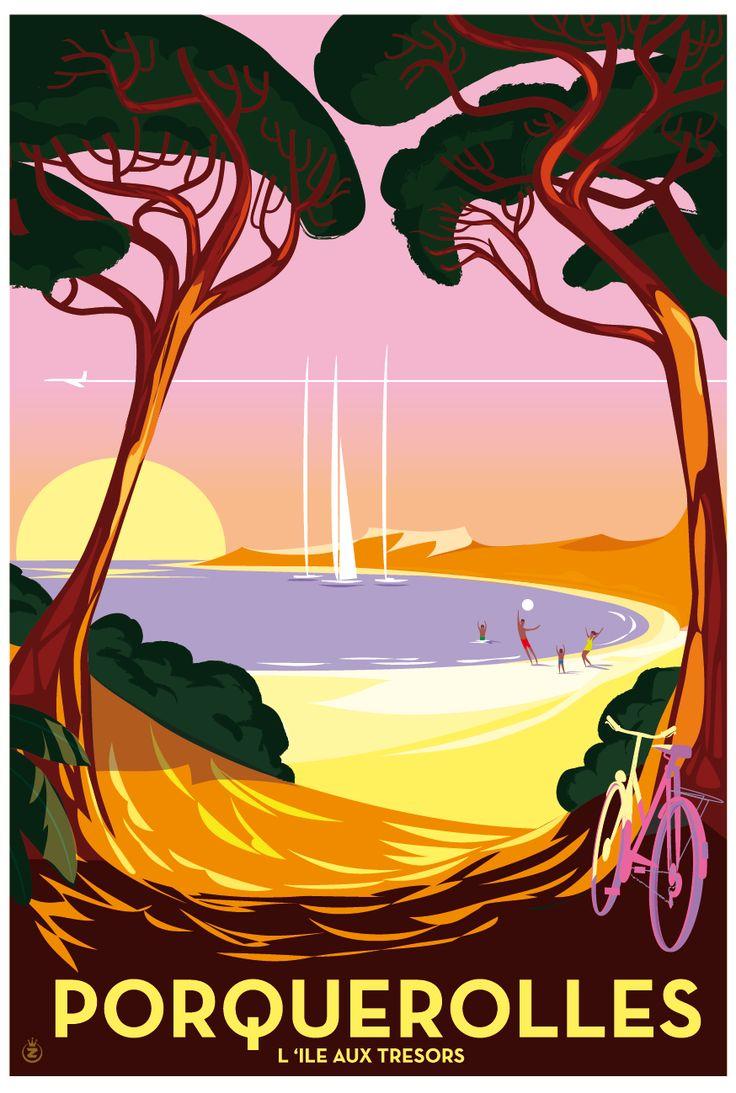 Richard Zielenkiewicz: Porquerolles Vintage style poster