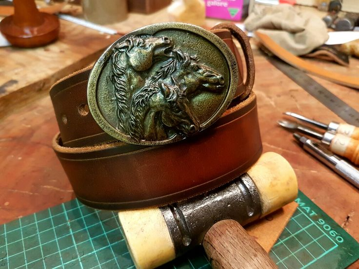 Equine theme belt. 6mm bridle leather.