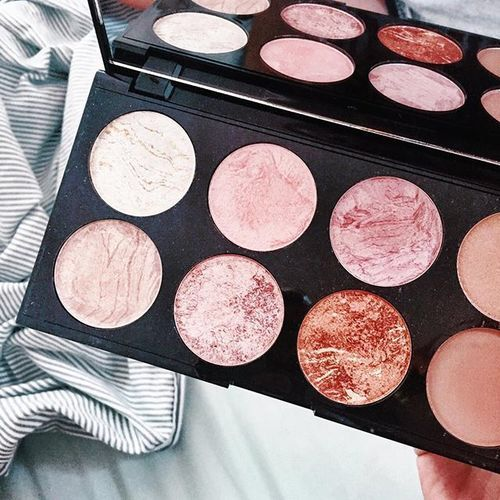 pinterest: @lilyosm | eyeshadow blush palette nude pink colors shimmer matte glitter shades makeup