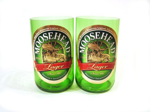 Moosehead beer bottles made into a drinking glass set.