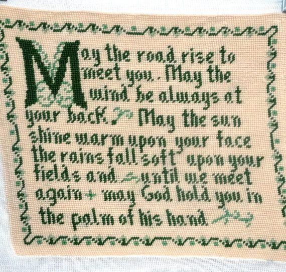 Vintage Irish Blessing Preworked Needlepoint by VictorianWardrobe, $18.00