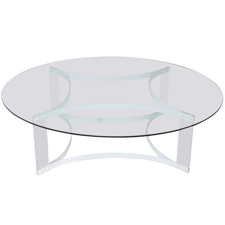 Superb Floating Round Glass U0026 Lucite Coffee Table From Brazil
