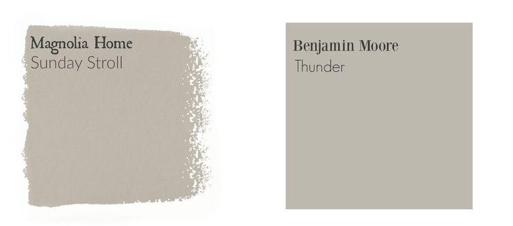 Joanna's matches BM Silver Satin, Thunder, Stonington Gray, etc. Fixer Upper color chart  (matching Benjamin Moore paints!)