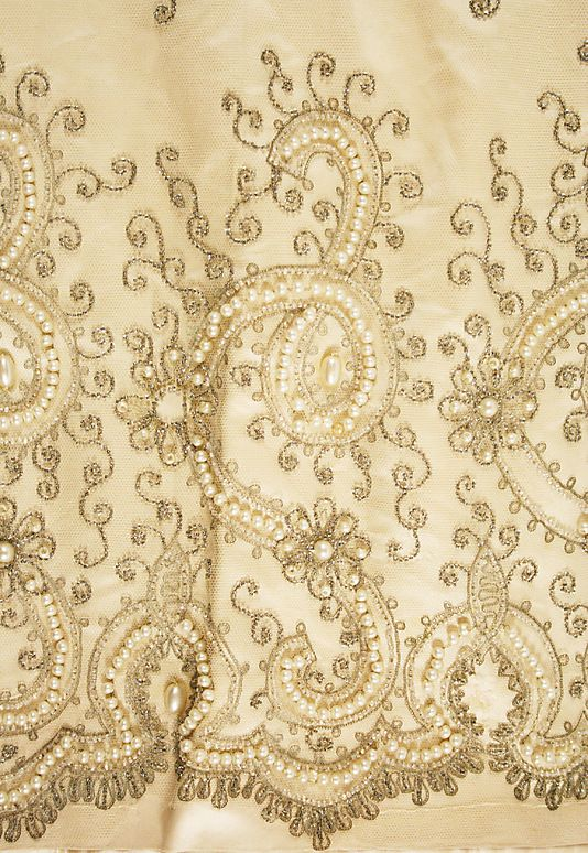 Detail of the embroidery on a House of Worth wedding dress of 1891-1893.                                          House of Worth