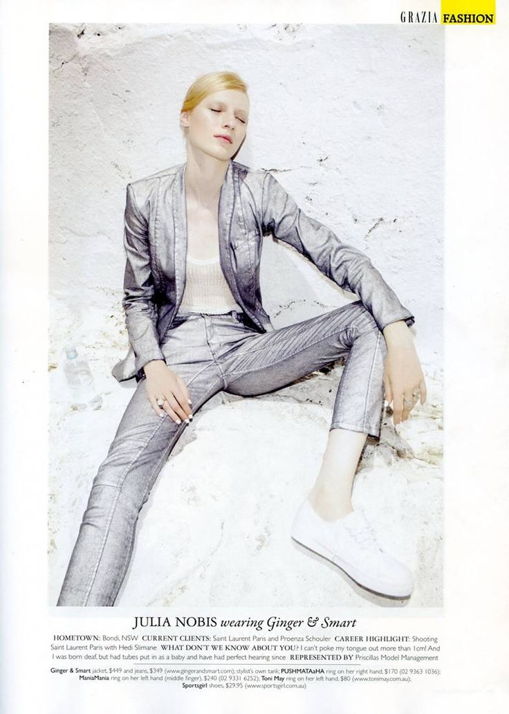 EDITORIAL: More suit love in this week's Grazia Australia Magazine.. Julia Nobis rocking The Edge Demin Jacket and Jeans. Available in March.