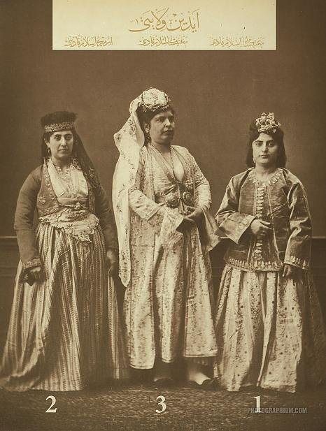 Clothing from province of Aydin, Ottoman State. 1 & 3- Married Muslim women of Manisa. 2- Married Muslim woman of Izmir (Smyrna). Istanbul, 1873
