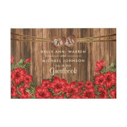 #monogrammed - #Beautiful Red Lily Flowers on Wood - Guestbook