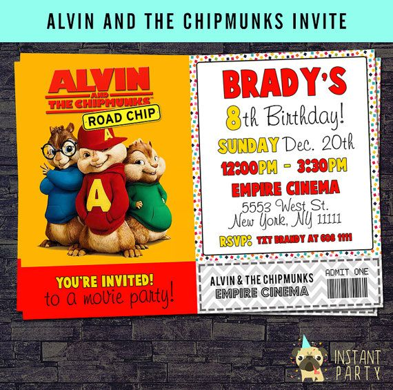 12 Best Alvin The Chipmunks Party Ideas Images On Pinterest