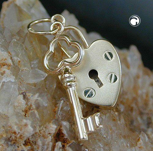 Anhänger, Schloss-Schlüssel, 9Kt GOLD accessorize24-430557
