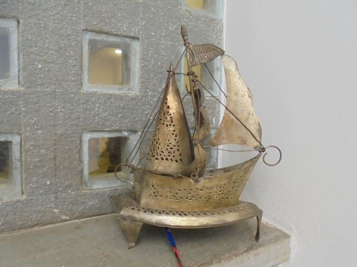 A 1950's Table Lamp Indian from Gujarat. Boat Galleon Sailing Lantern Indian Mid Century Lighting. by Lallibhai on Etsy