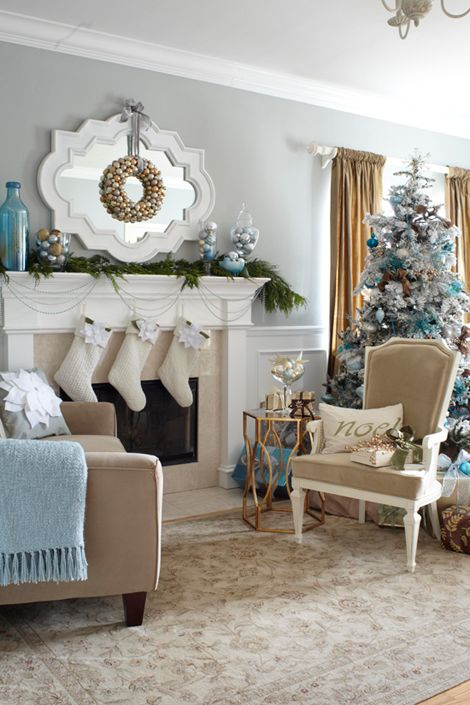 @Rebecca B. Little The Burlap and Blue colors and wreath reminded me of you. Pretty Christmas tree and decorations