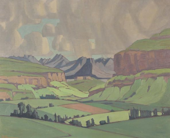 Jacob Hendrik Pierneef (South African, 1886-1957) Malutis by Fouriesburg, Eastern Free State