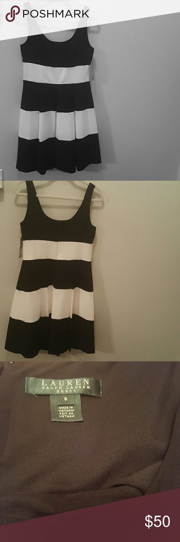 Ralph Lauren cocktail dress NWT-Gorgeous black and white pleated stripe cocktail dress.  Size 8 sleeveless with black zipper. Perfect for evening events or events of your choice. Dresses Midi