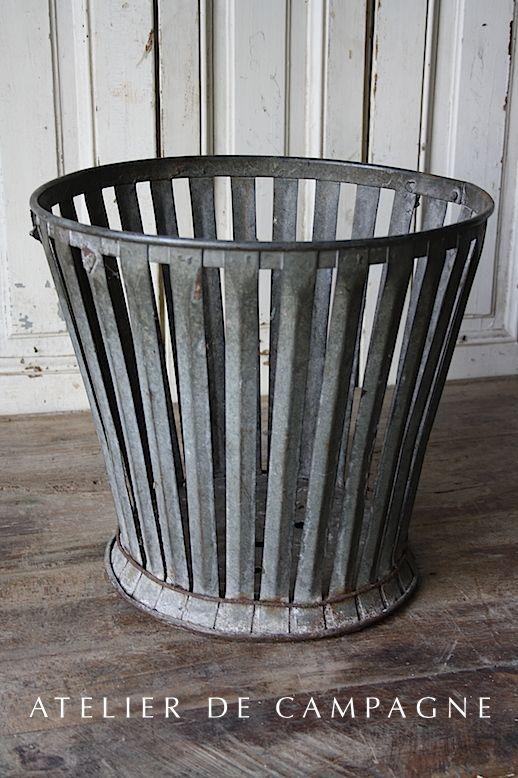 #23/225 French Metal Basket. Galvanized ...