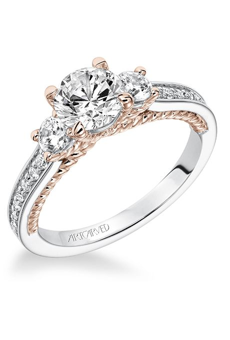 """ArtCarved. """"Marlow"""" Contemporary three-stone diamond engagement ring with two-tone rope detail, $2,700 (14K white gold setting only), ArtCarved"""