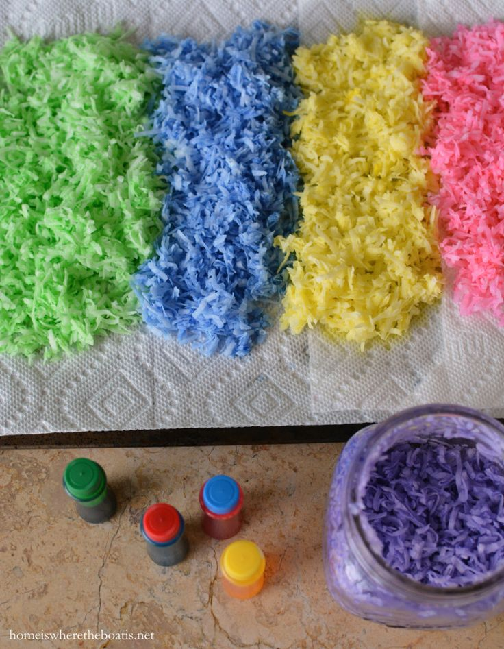 How to tint shredded coconut for edible Easter grass | Homeiswheretheboatis.net #Easter