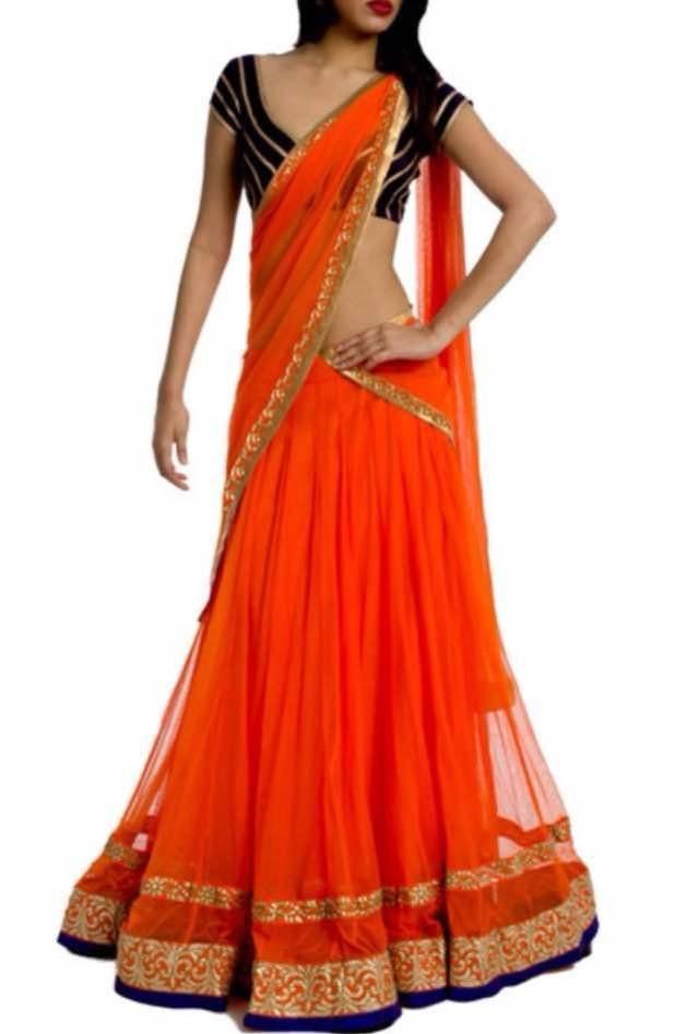 100deb70aa Orange Net Simple Bollywood Lehenga Choli Online in 2019 | Fashion ...
