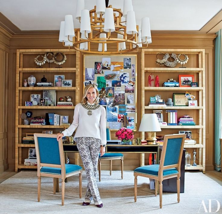 Fashion impresario Tory Burch in her New York office, which was decorated with the help of AD100 firm Daniel Romualdez Architects | archdigest.com