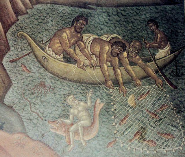Λεπτομέρεια από τοιχογραφικό διάκοσμο στο Δημαρχείο Αθηνών