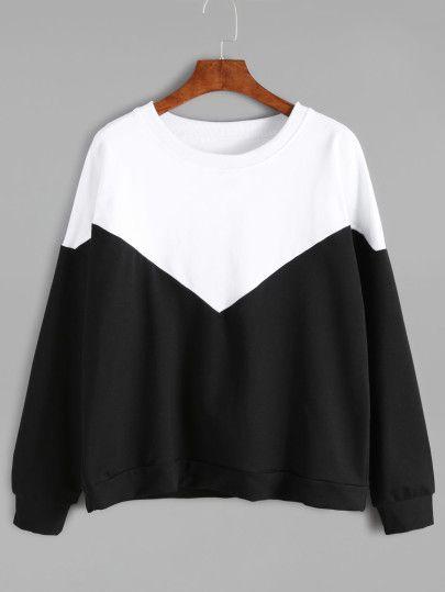 Color Block Drop Shoulder Sweatshirt