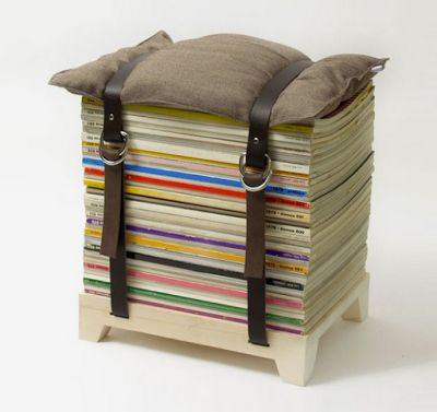 neat idea for a footrest from recycled materials