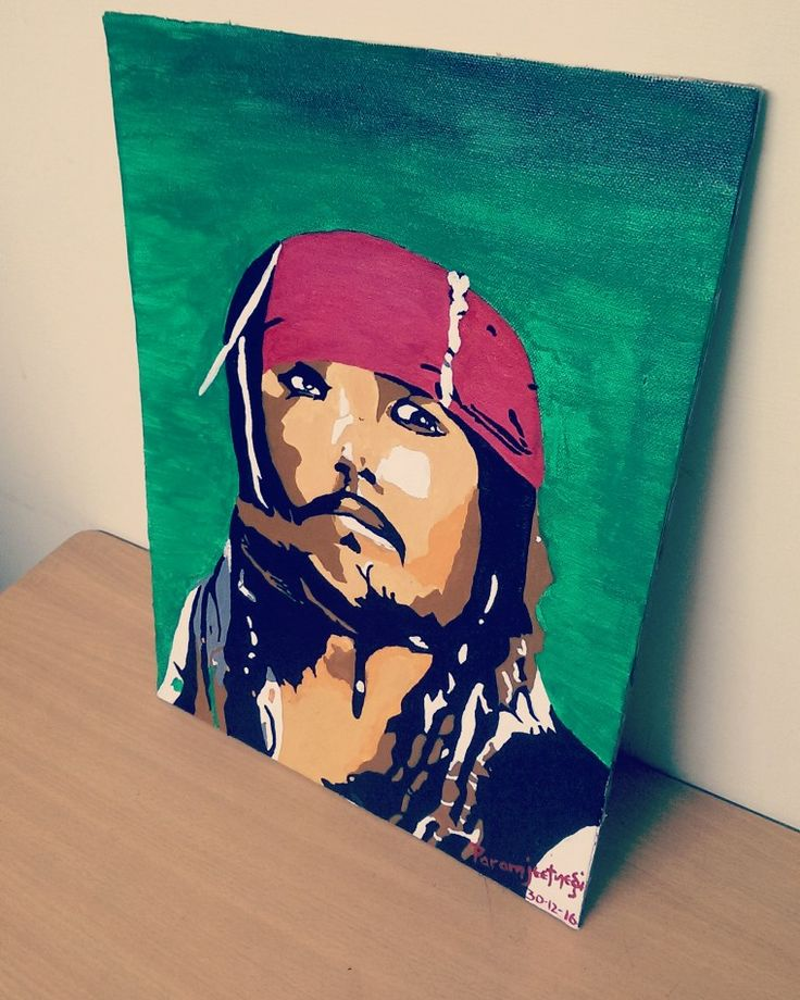 Johnny depp painting. #canvas painting #captain jack sparrow
