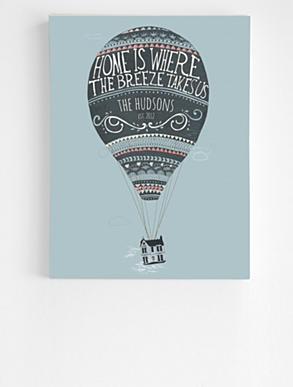 hot air balloon canvas - 24X32 - blue graphics