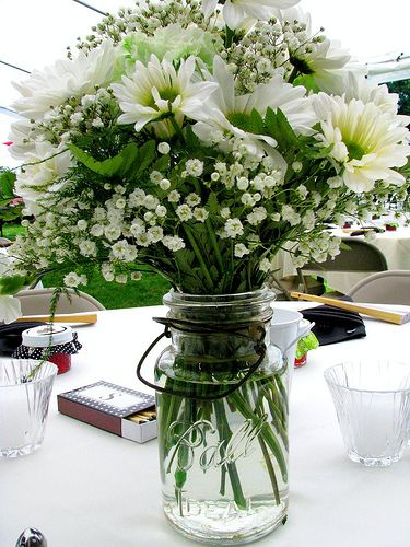 Ball jar centerpiece white and green rustic chic wedding