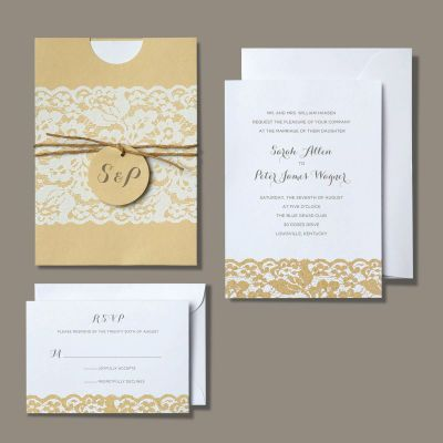 Michaels.com Wedding Department: BRIDES Rustic Chic Invitation Kraft paper strikes just the right note for a casual wedding- from one set in a vineyard to a down-home country celebration. This kit includes invitations, invitation pockets, twine, tags, invitation envelopes, response cards and response card envelopes. 30 count.